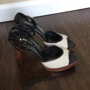 WHBM Tan Linen And Black Leather Heels